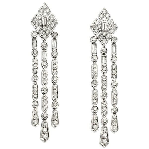 18k White Gold Certified 1 45ct TDW Diamond Chandelier Earrings – Black Diamond Chandelier Earrings