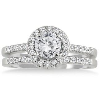 10k White Gold 1 1/6 Carat TDW White Diamond Halo Bridal Set (3 options available)