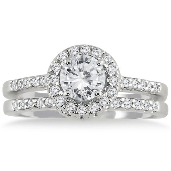 10k White Gold 1 1/6 Carat TDW White Diamond Halo Bridal Set