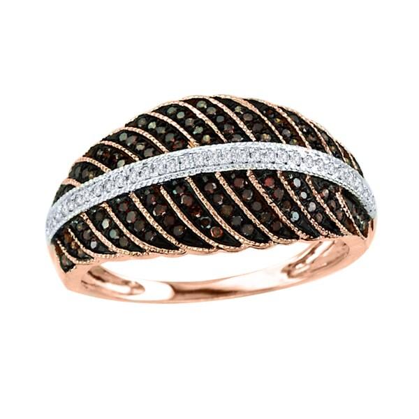 De Couer 10k Rose Gold 3/8ct TDW White and Cognac Diamond Ring (H-I, I2)