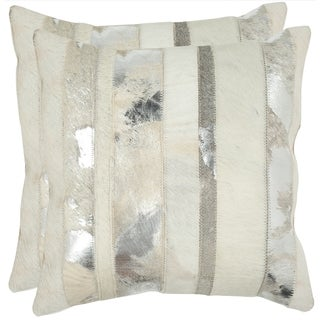 Safavieh Cowhide Peyton 22-inch Silver Feather/ Down Decorative Pillows (Set of 2)