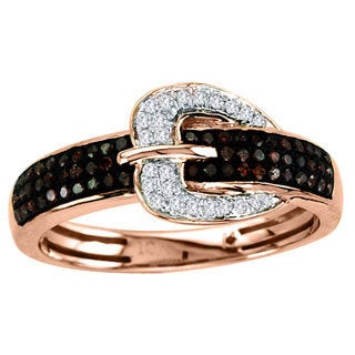 De Couer 10k Gold 1/4ct TDW White/ Cognac Diamond Buckle Ring