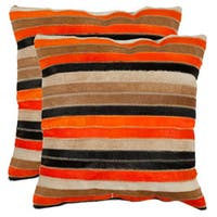 Safavieh Cowhide Quinn 18-inch Orange/ Tan Feather and Down Decorative Pillows (Set of 2)