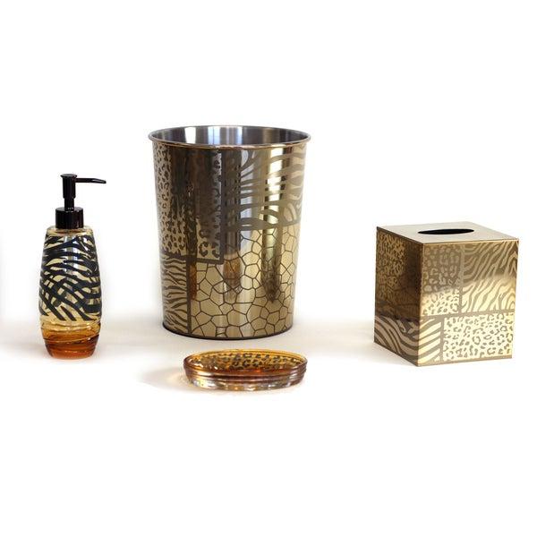 shop sherry kline safari brown gold bath accessory 4 piece set free shipping today overstock. Black Bedroom Furniture Sets. Home Design Ideas