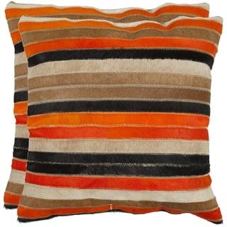 Safavieh Cowhide Quinn 22-inch Orange/ Tan Feather/ Down Decorative Pillows (Set of 2)