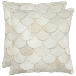 Safavieh Cowhide Elita 22-inch Cream Feather/ Down Decorative Pillows (Set of 2)