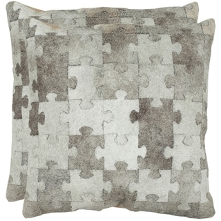 Safavieh Cowhide Mason 22-inch Grey Feather and Down Filled Decorative Pillows (Set of 2)