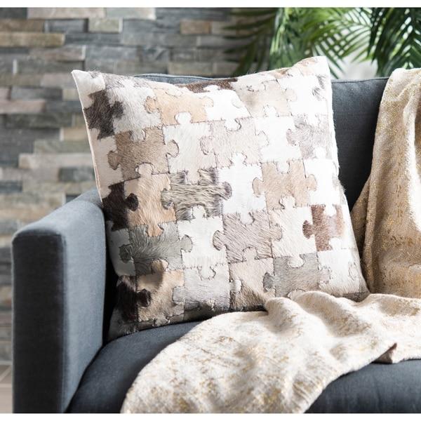 Safavieh Cowhide Mason Puzzle 22-inch Multi/ Grey Decorative Pillow (Set of 2)