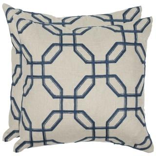Safavieh Hayden 18-inch Indigo Feather/ Down Decorative Pillows (Set of 2)