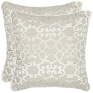 Safavieh Madison 18-inch Silver Feather/ Down Decorative Pillows (Set of 2)