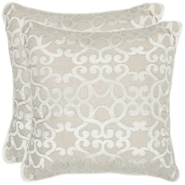 Madison Square 18-Inch Decorative Pillows : Safavieh Madison 18-inch Silver Feather/ Down Decorative Pillows (Set of 2) - Free Shipping ...