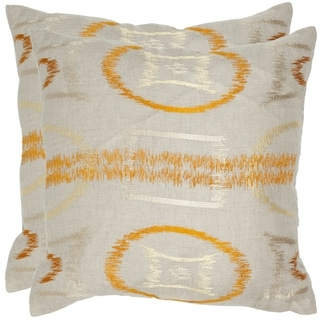 Safavieh Reese 18-inch Orange Feather/ Down Decorative Pillows (Set of 2)