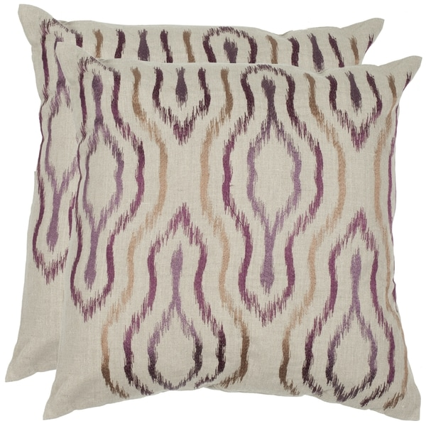 Safavieh Quinn 22-inch Plum Feather/ Down Decorative Pillows (Set of 2)
