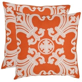 Safavieh Collette 18-inch Orange Decorative Pillows (Set of 2)