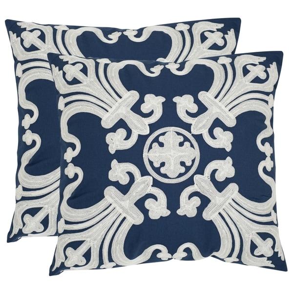 Safavieh Collette 22-inch Navy/ Blue Decorative Pillows (Set of 2)