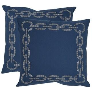 Safavieh Sibine 18-inch Navy/ Blue Decorative Pillows (Set of 2)
