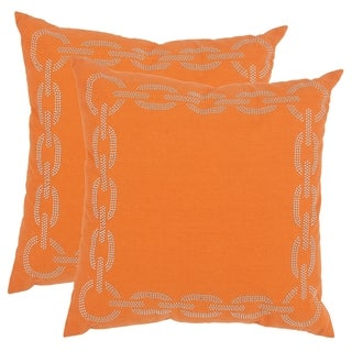 Safavieh Sibine 22-inch Orange Decorative Pillows (Set of 2)