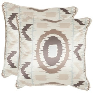 Safavieh Walton 18-inch Blue/ Taupe Decorative Pillows (Set of 2)