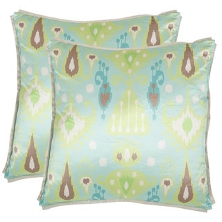 Safavieh Stella 18-inch Blue/ Green Decorative Pillows (Set of 2)