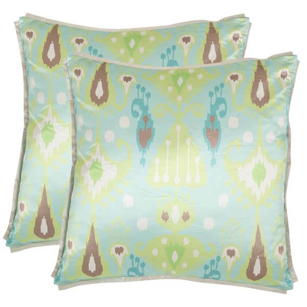 Safavieh Stella 18-inch Blue/ Green Decorative Pillows (Set of 2)
