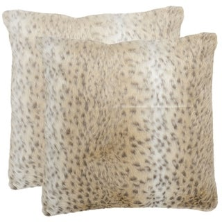 Safavieh 18-inch Faux Snow Leopard Decorative Pillows (Set of 2)