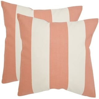 Safavieh Sally 22-inch Peach Feather Decorative Pillows (Set of 2)