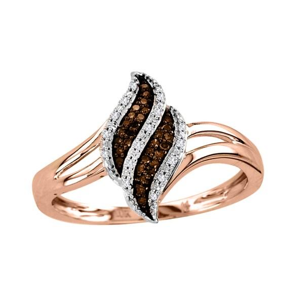 De Couer 10k Rose Gold 1/10ct TDW White/ Cognac Diamond Ring