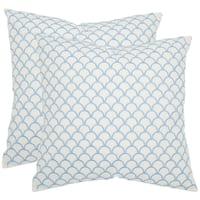 Safavieh Nikki 18-inch Blue Feather Decorative Pillows (Set of 2)