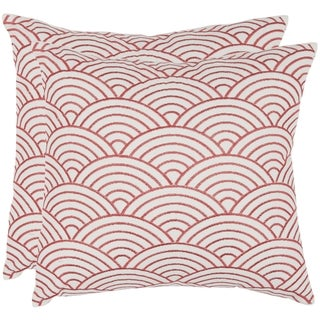 Safavieh Dina 18-inch Red Feather Decorative Pillows (Set of 2)