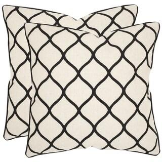 Safavieh Eliza 18-inch Black Feather Decorative Pillows (Set of 2)