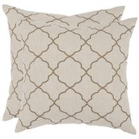 Safavieh Sophie 18-inch Taupe Feather Decorative Pillows (Set of 2)