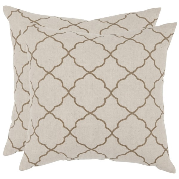 Shop Safavieh Sophie 40inch Taupe Feather Decorative Pillows Set Adorable Overstock Decorative Pillows