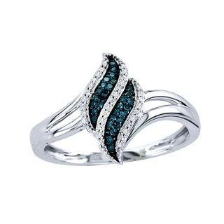 De Couer 10k White Gold 1/10ct TDW White/ Blue Diamond Ring (H-I, I2)