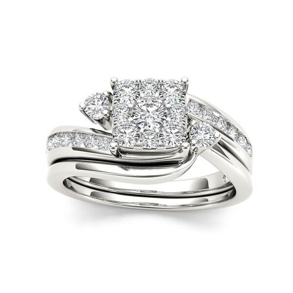 De Couer 10k Gold Diamond Bridal Ring Set with Cushion Shape Cluster and interlocking  wedding band (3/4ct TDW I2 HI COLOR)