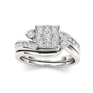 De Couer 10k Gold Diamond Bridal Ring Set with Cushion Shape Cluster and interlocking  wedding band (3/4ct TDW I2 HI COLOR)