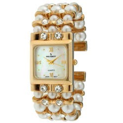 Peugeot Women's Faux Pearl Crystal Cuff Watch|https://ak1.ostkcdn.com/images/products/8175889/Peugeot-Womens-Faux-Pearl-Crystal-Cuff-Watch-P15513881.jpg?impolicy=medium