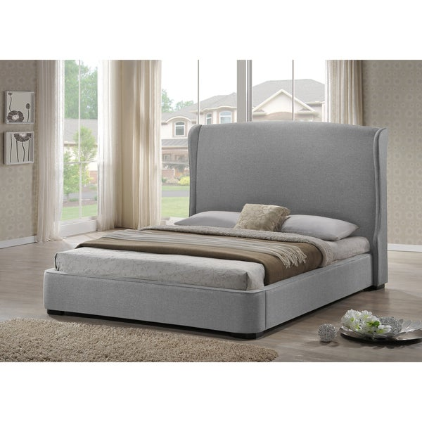 baxton studio 39 sheila 39 grey linen modern bed with