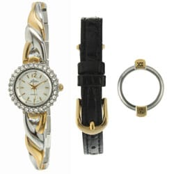 Pierre Jacquard Women's Two-tone Interchangeable Bracelet/ Bezel Watch