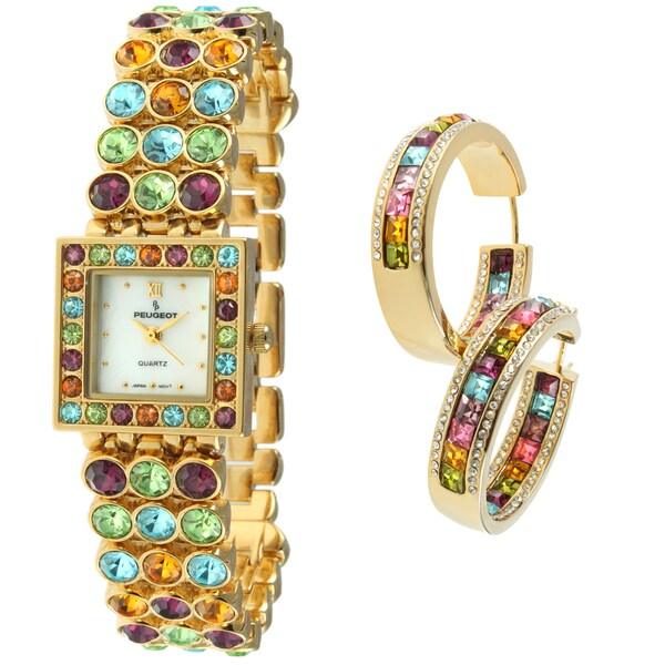 Peugeot Women's Multi-colored Crystal-accented Watch/ Earring Set
