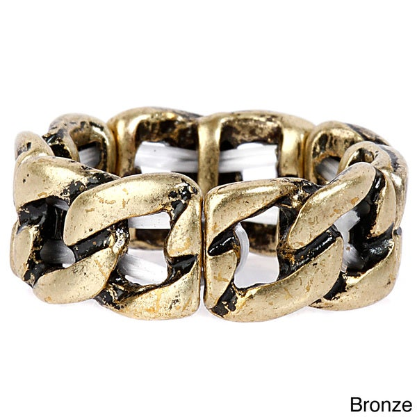 Antiqued Chain Link Stretch Ring
