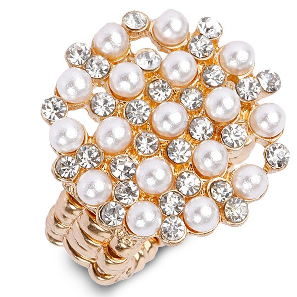 Goldtone Faux Pearl/ Crystal Stretch Ring
