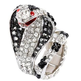 Silvertone Crystal Snake Stretch Ring