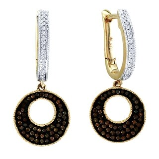 De Couer 10k Gold 2/5ct TDW Cognac and White Diamond Earrings