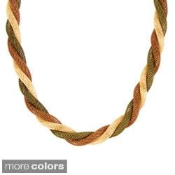 Tri-Colored Mesh Chain Necklace