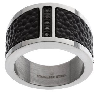 Stainless Steel Men's 1/10 ct TDW Black Diamond and Textured Leather Ring