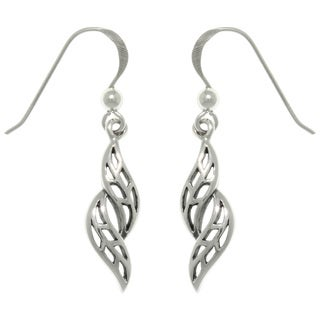 Carolina Glamour Collection Sterling Silver Swirling Leaves Dangle Earrings