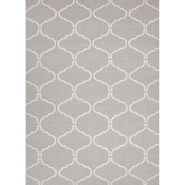 Shop Handmade Flat Weave Moroccan Pattern Grey White Rug