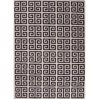 Handmade Flat-weave Geometric-pattern Gray/ Black Reversible Rug (8' x 10')