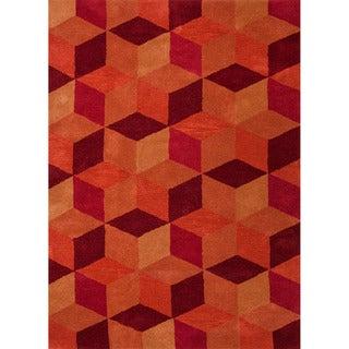 Hand-tufted Contemporary Geometric Red/ orange Rug (5' x 8')