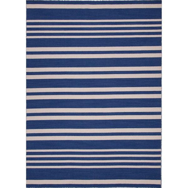 Handmade Flat Weave Stripe Pattern Blue Modern Rug (5' x 8')